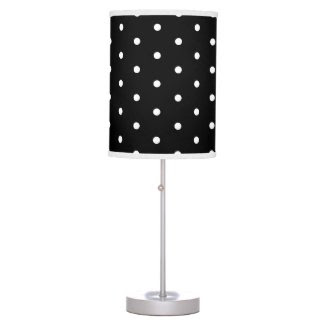 Simple Elegant Black and White Retro Polka Dots Table Lamp