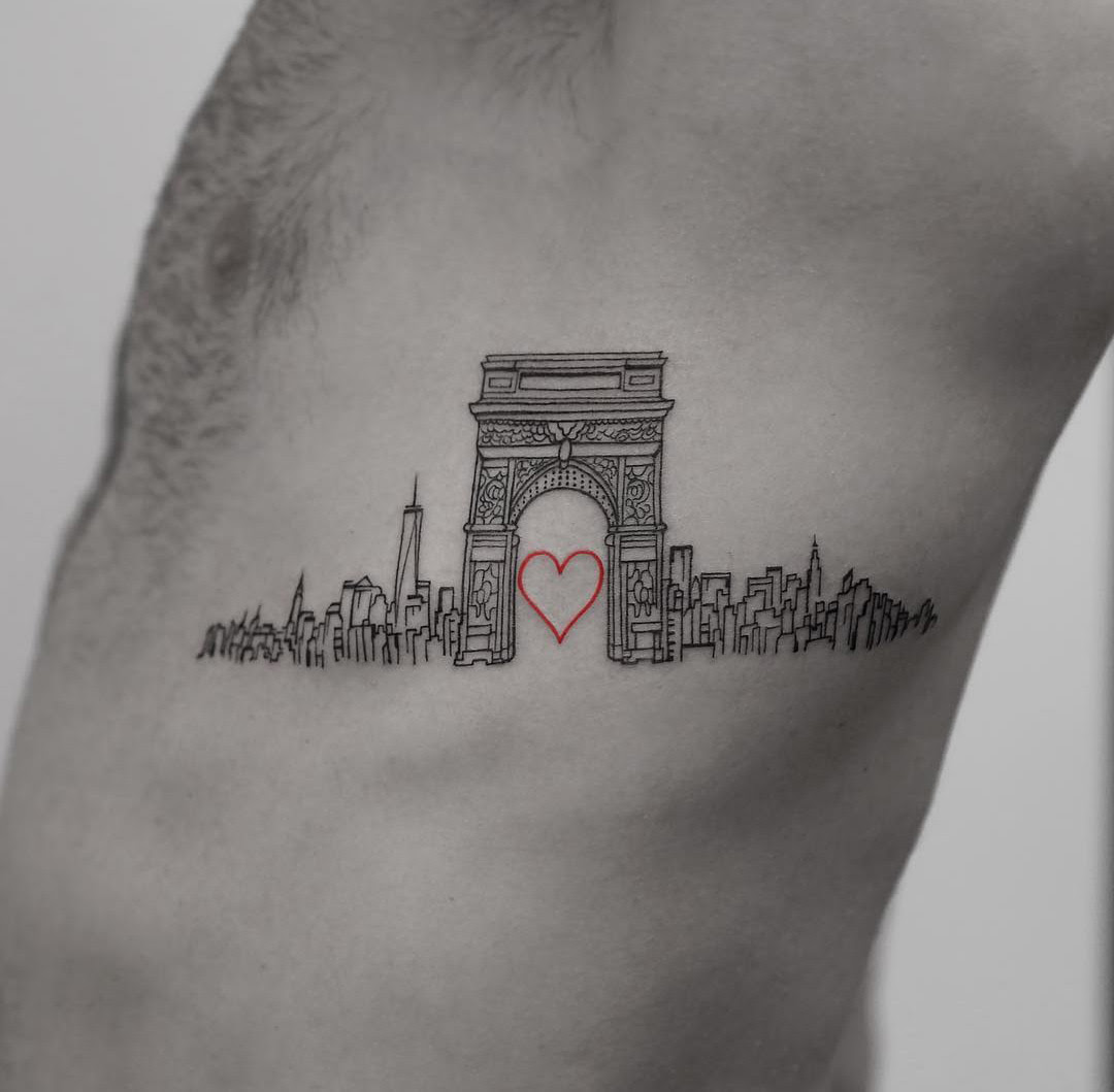 Love Nyc Side Piece With Washington Square Arch Best Tattoo