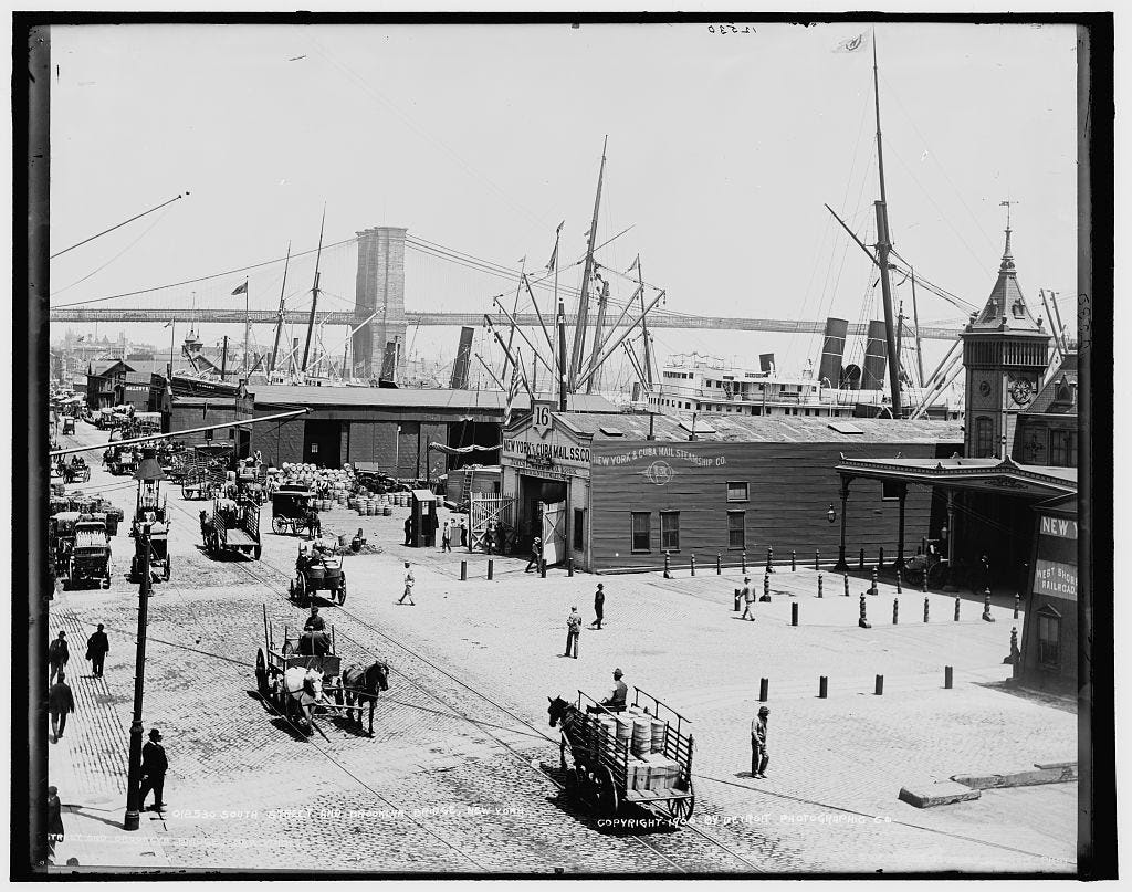 Now a designated historic district, South Street Seaport is neighbor to Manhattan's Financial District.