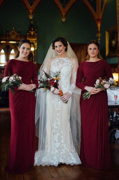 A YolanCris Gown and Bridesmaids in Burgundy for a