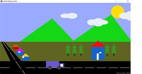 processing animasi pemandangan desa bergerak piknik global