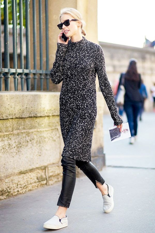 Le Fashion Blog Mock Neck Sweater Dress Model Off Duty Street Style Sasha Luss Sunglasses Cropped Black Leather Pants Grey Slip On Sneakers Via Vogue