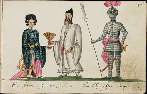 Chinese man & woman in costume and knight in armor