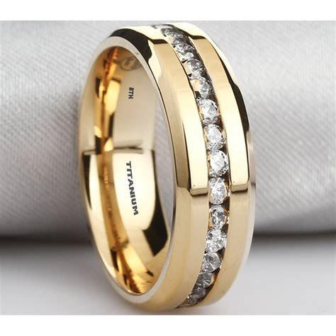 Mens Titanium Ring 8mm Wide Simulated Diamonds Classic