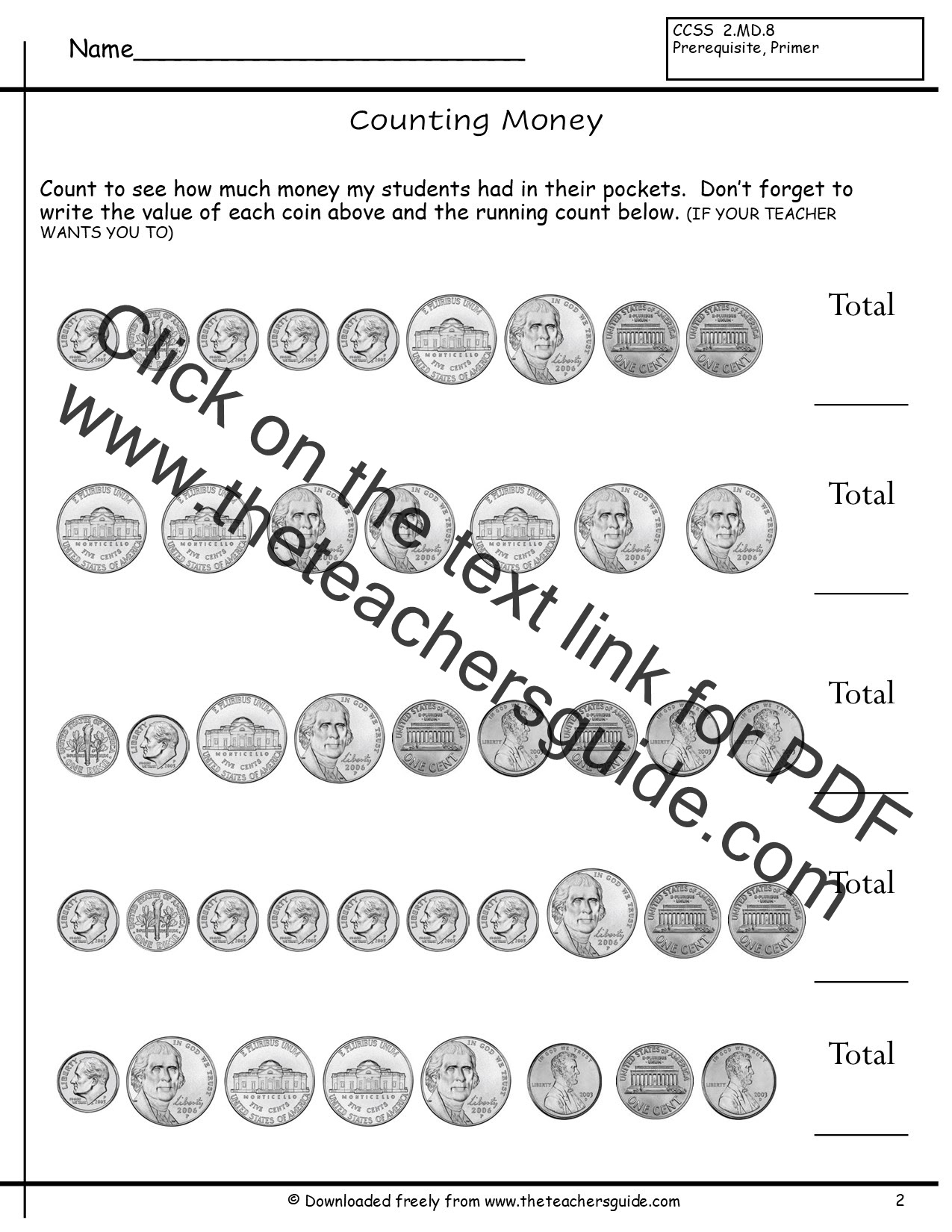 counting sets of coins worksheets