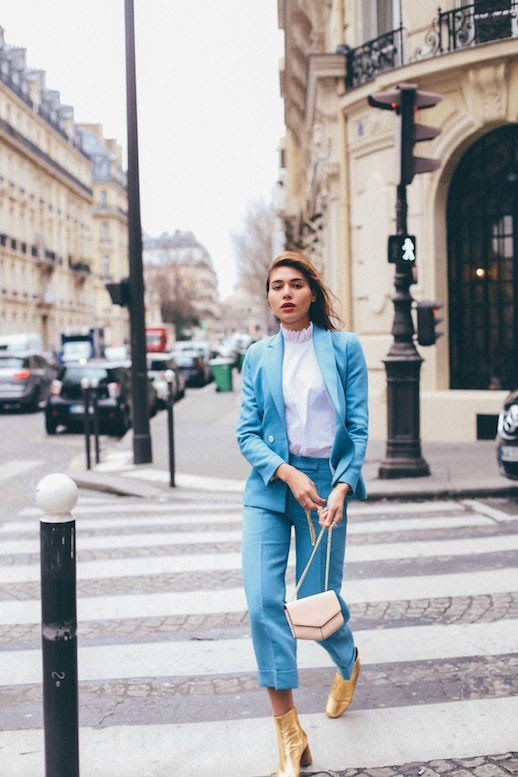 Le Fashion Blog Paris Fashion Week Blue Suiting Gold Heeled Boots Via Natalie Off Duty