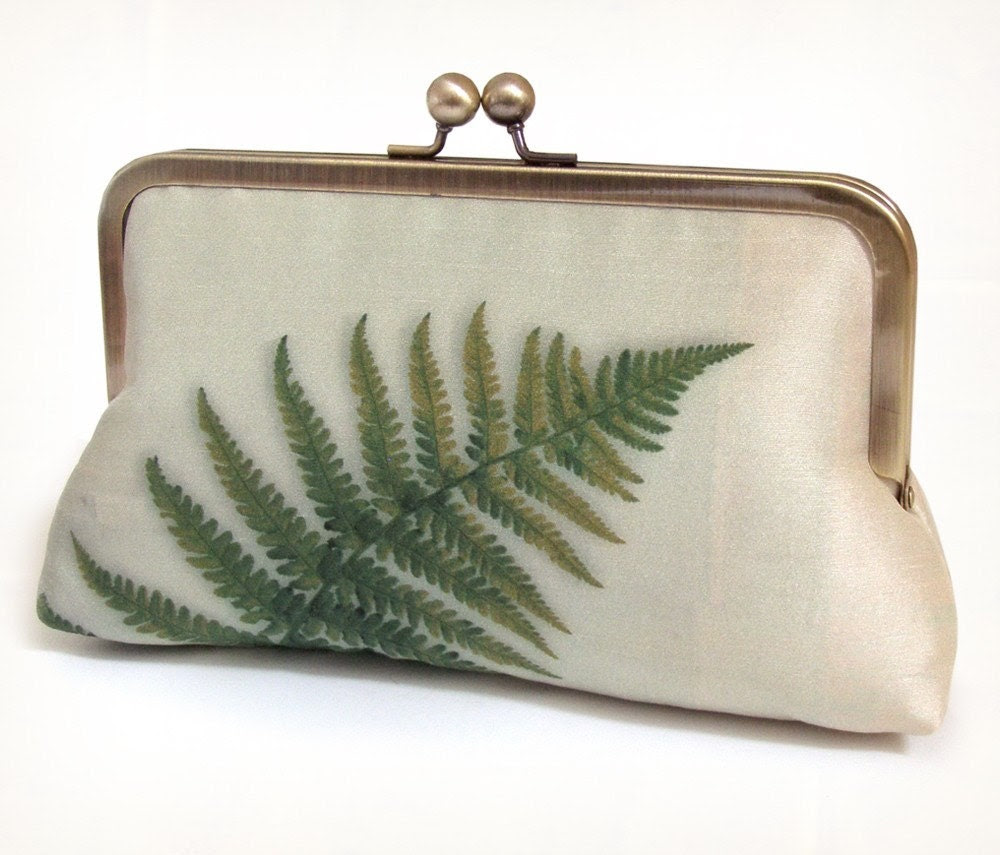 Clutch bag, silk purse, green fern, woodland wedding, bridesmaid gift - redrubyrose