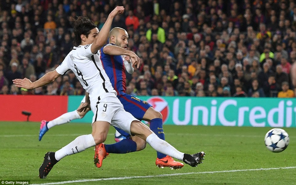 Edinson Cavani comes close to scoring a vital away goal for PSG but his effort comes off the foot of the post