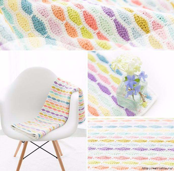 Children's blanket of multicolored yarn hook (1) (689x678, 279Kb)