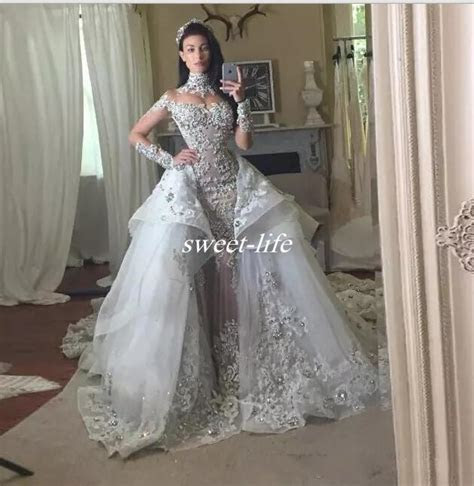 Discount Luxury Crystal Wedding Dresses With Detachable