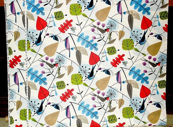 Scandinavian fabric retro modern graphic bird by BrickHouseFabrics pattern