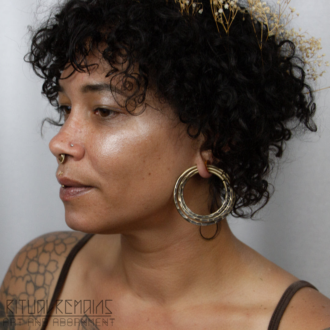 10g Hammered Brass Hoop Earrings For Stretched Ears Ritual Remains
