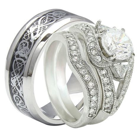 3PCS His And Hers Tungsten 925 Sterling Silver Wedding