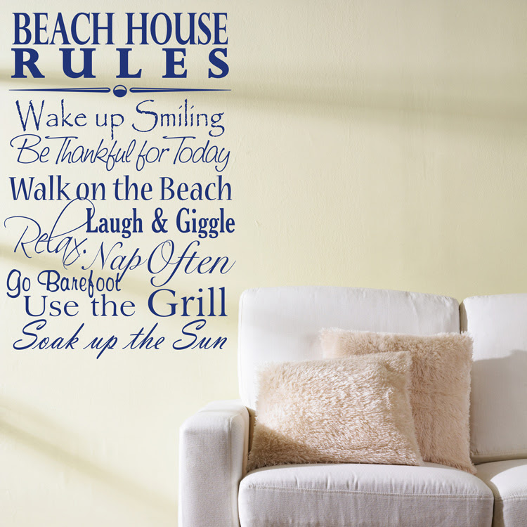 Beach House Rules - Quote - Saying - Words Wall Decals