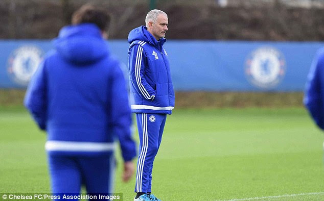 Mourinho sported a buzz-cut as he watched his side, but will not be in charge for their game against Sunderland