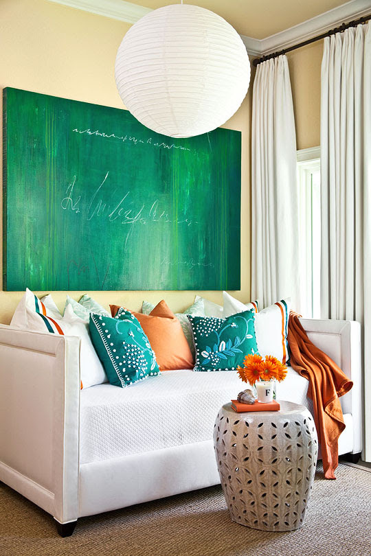 orange turquoise living room