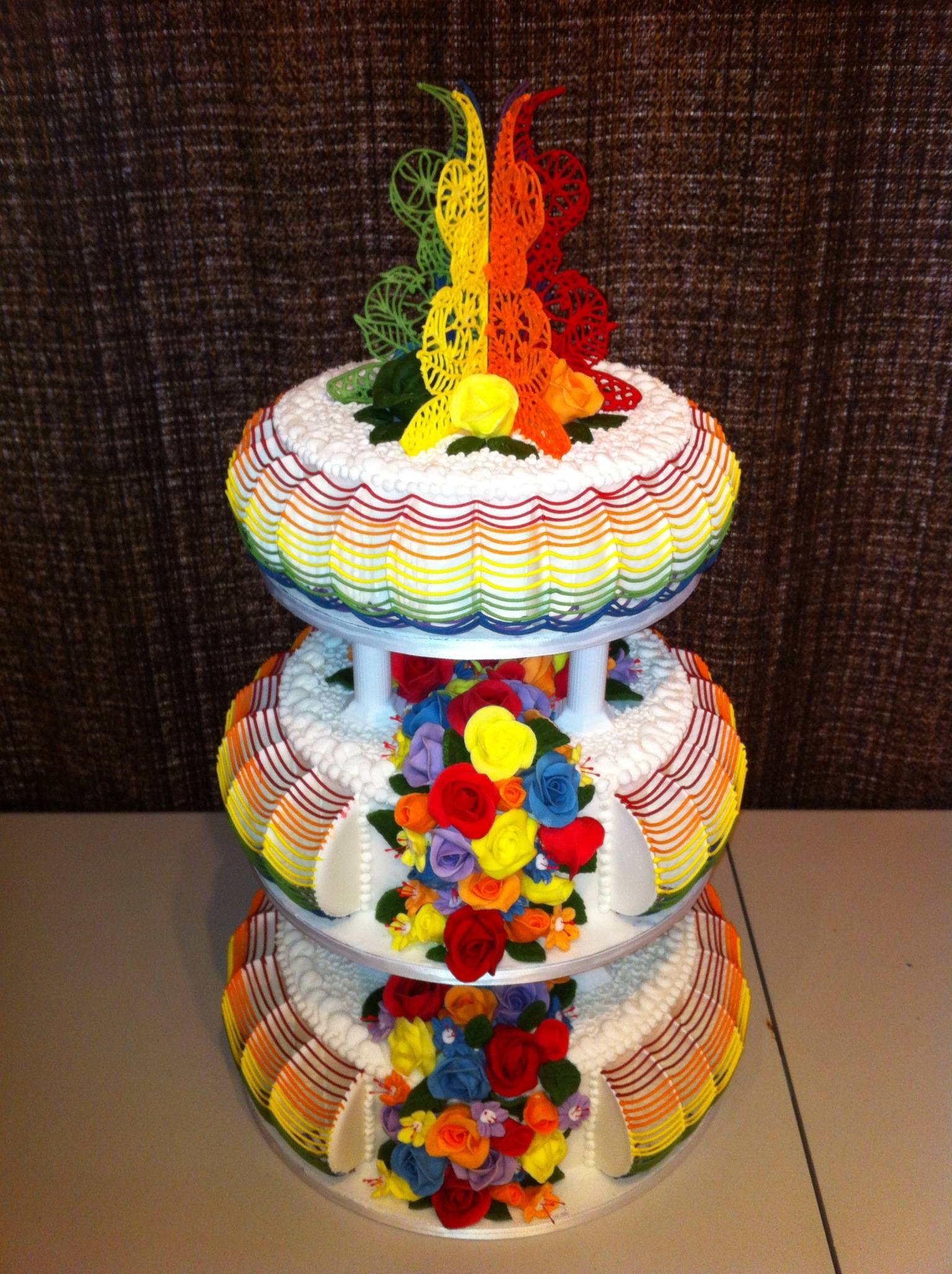 My Dad's rainbow themed wedding cake for my cousin