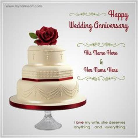 Writing Name On Wedding Anniversary Wishes Greeting Card