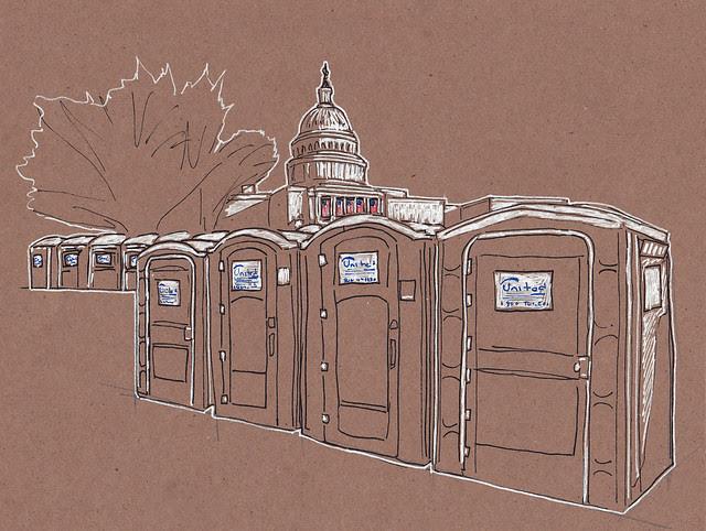 Inauguration 2013 Portojohns and Capitol