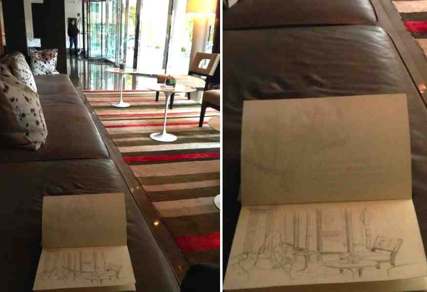 Urban Sketching, Dupont Circle Hotel Lobby, Washington DC