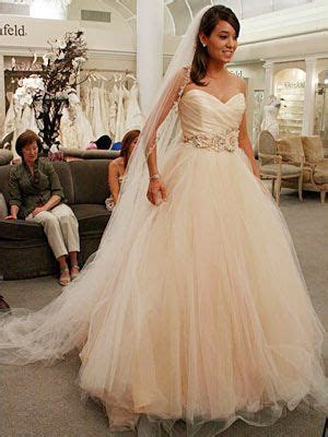 sherbet colored Lazaro gown, as seen on Say Yes to the