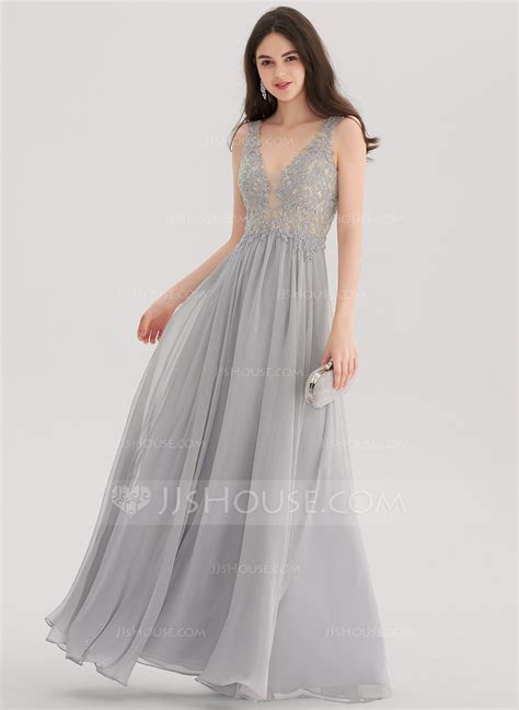 A Line/Princess V neck Floor Length Chiffon Prom Dresses