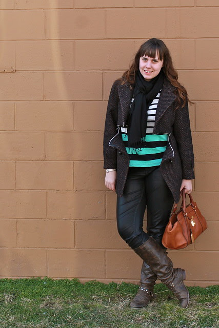 Horizontal outfit: vegan leather pants, brown leather boots, black white and mint striped marinière shirt, black cashmere pashmina, cameo pin, Lauren by Ralph Lauren bag, DIY horizontal-zipper coat