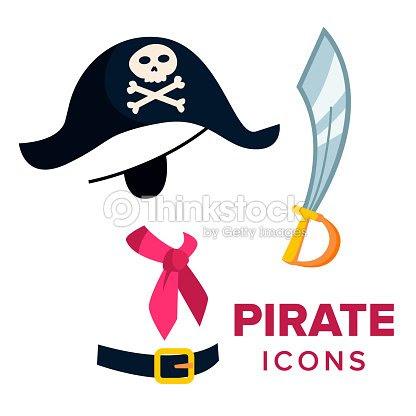 海賊アイコン ベクトルアクセサリー帽子剣フラットの漫画イラストを分離