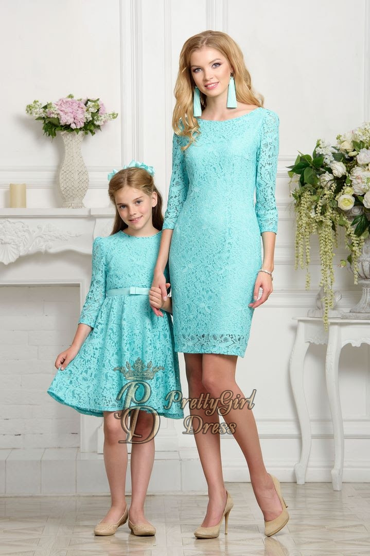mommy  daughter matching outfits aqua dress 34 sleeves