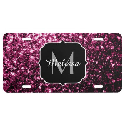 Beautiful Pink glitter sparkles Monogram License Plate