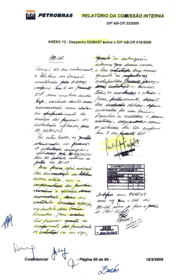 Documento mostra que relatório sobre irregularidades cometidas pelo gerente Geovane de Morais foi analisado pelo ex-diretor Paulo Roberto Costa, atualmente preso, acusado de corrupção (Foto: Reprodução)