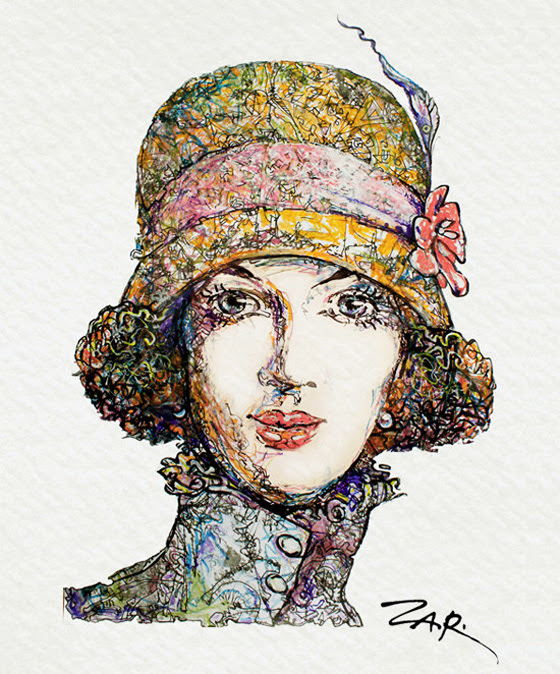 Zar Zahariev Art Deco Illustrations 3 Zar Zahariev Illustrations : Belle Dame au Chapeau