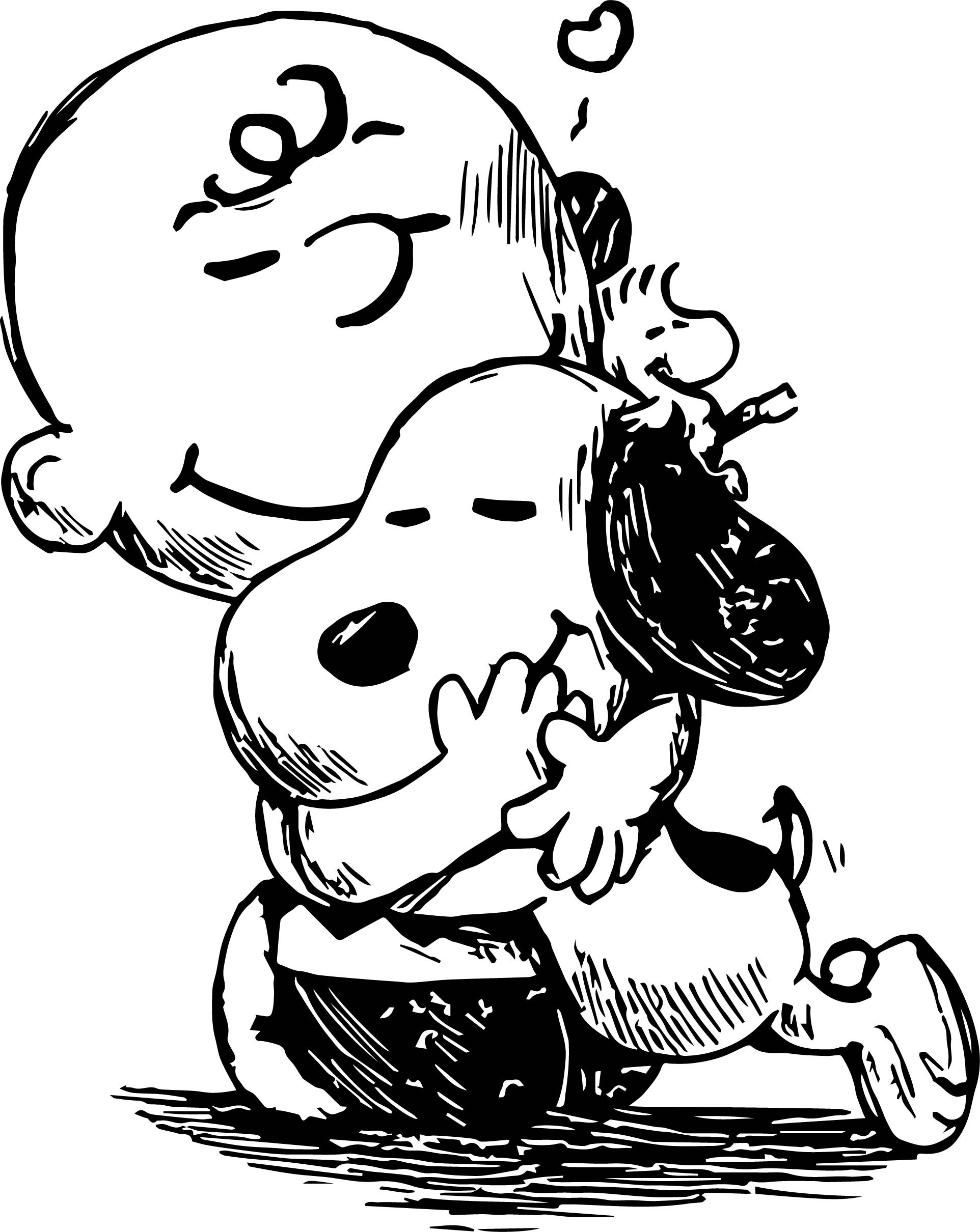 Snoopy And Charlie Brown Black White Sketch Coloring Page ...