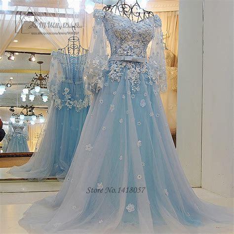 Vintage Bohemian Wedding Dress Princess Light Blue Wedding