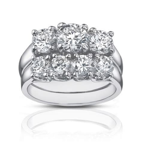 2.25 Ct Three Stone Round Diamond Engagement Ring With