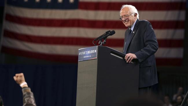 Democratic presidential candidate Bernie Sanders reacts to a fist waving supporter as he speaks at a campaign rally Monday, April 11, 2016, in Buffalo, New York. Picture: Mel Evans/AP