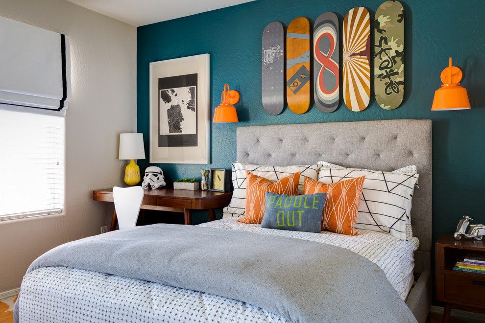 Baroque Tufted Headboard Queen In Kids Transitional With Blue Accent