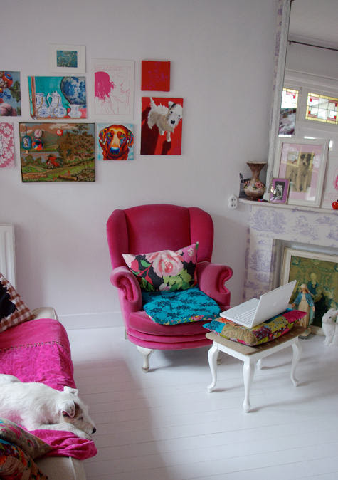 interior with splashes of pink