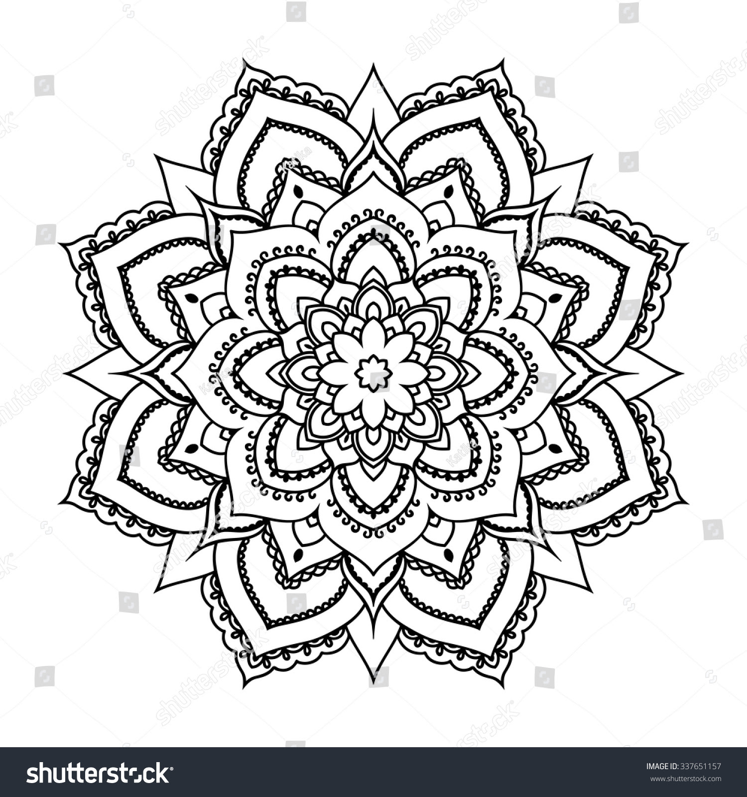 Vector Henna Tatoo Mandala Mehndi Style Stock Vector ...