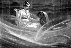 Frigg spinning the clouds, by J C Dollman
