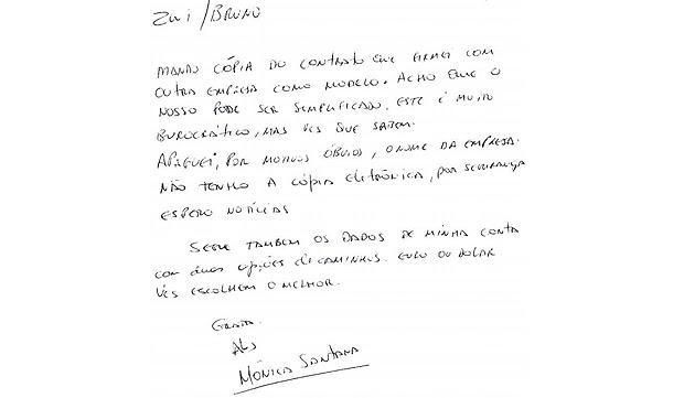 Bilhete de Mônica Moura apreendido pela Polícia Federal