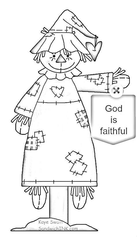 Cute autumn scarecrow country clipart for grandkids and trick or treaters coloring page