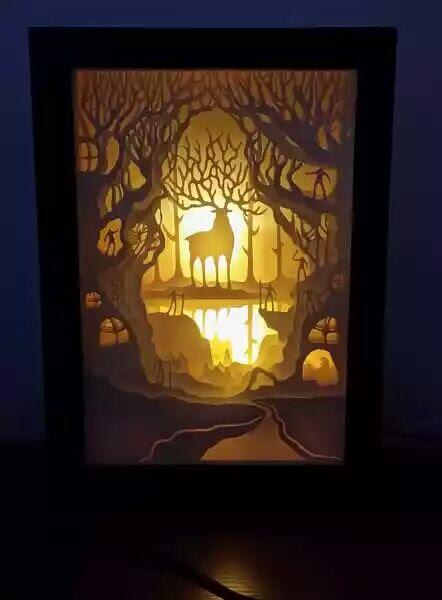 Our Awesome Yakul Deer God In Princess Mononoke Forest Spirits Handmade Light Box Card Handicraft Making