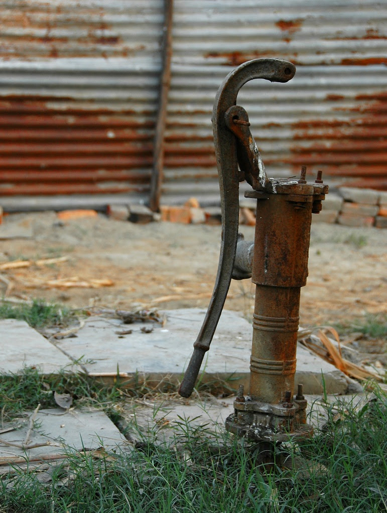rusty water pump in New Delhi, 2007