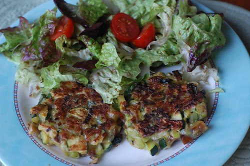 Leek, potato and zucchini pancakes