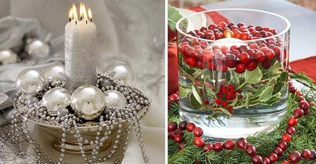 Centros de mesa de Navidad con velas, decoracion, interiores