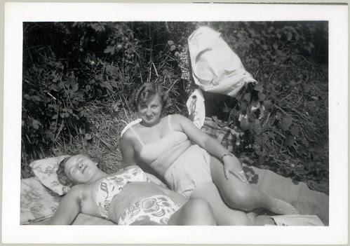 Two girls sunning