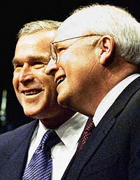 Bush and Cheney smiling