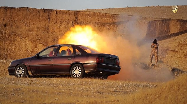 Fired from close range: The grenade launcher is fired towards the vehicle, causing it to burst into flames