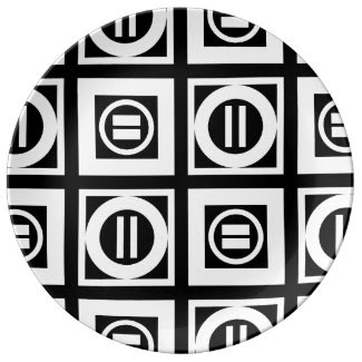 White on Black Geometric Equal Sign Pattern Porcelain Plate